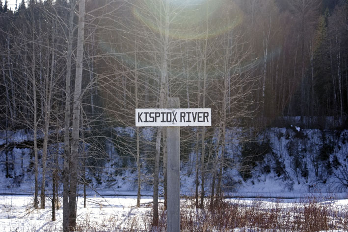 Kispiox River sign in winter by John Wynne